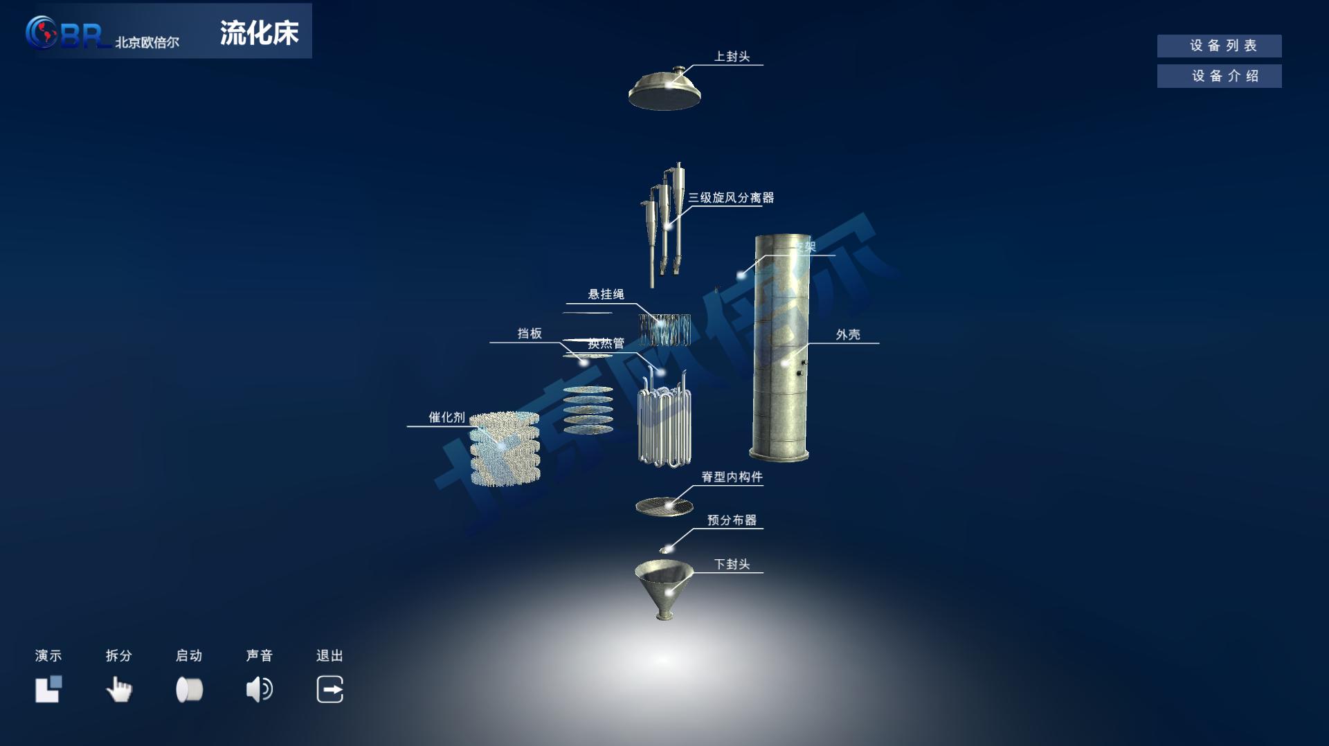流化床拆分3D虚拟仿真软件